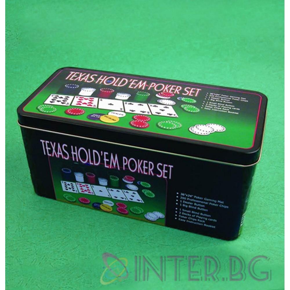 Комплект за покер в кутия – 200 чипа