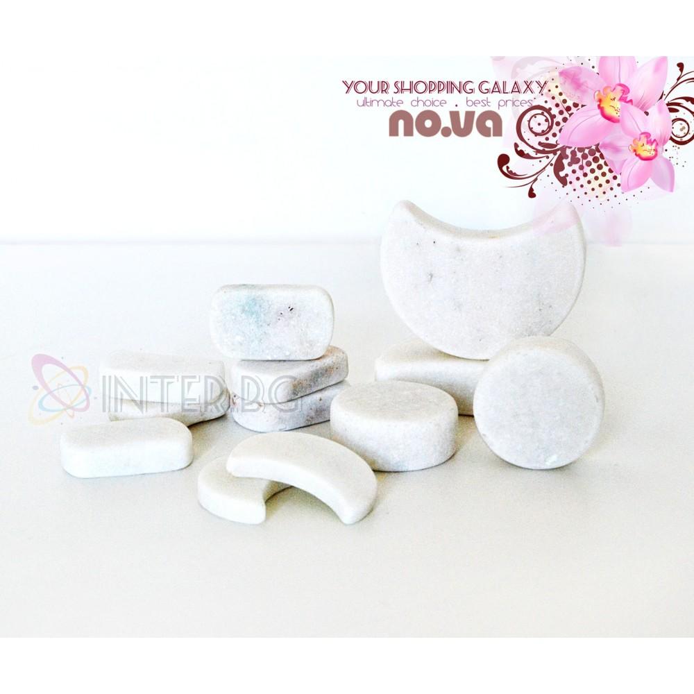 Комплект Бели Мраморни Камъни за Терапия на лице и Масаж – 12 бр.