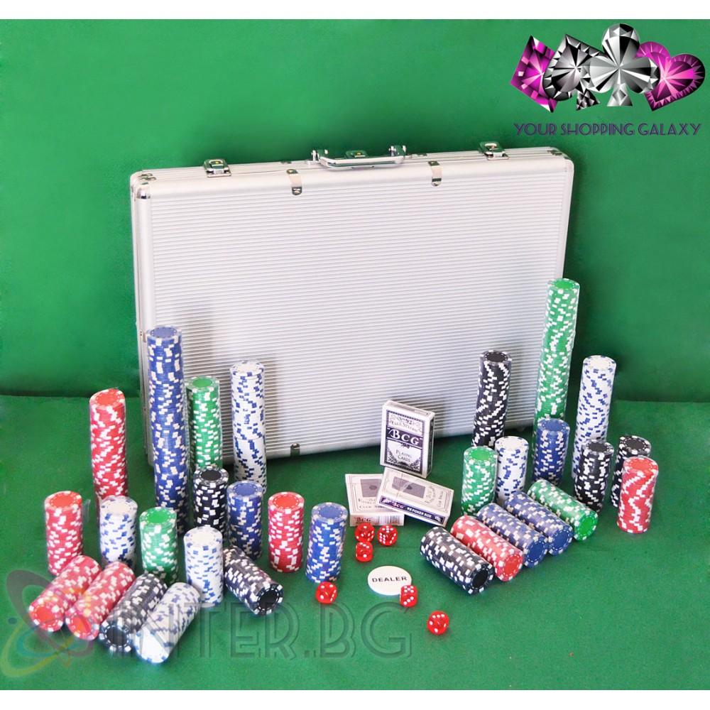 Комплект 1000 покер чипа, три тестета карти, зарове + куфарче