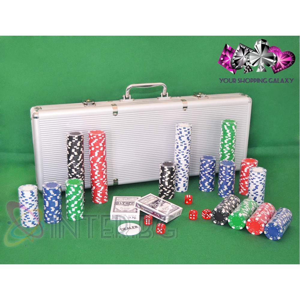 Комплект 500 покер чипа, две тестета карти, зарове + куфарче